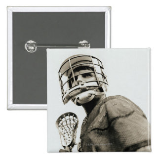 Lacrosse Goalkeeper 2 Inch Square Button