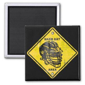Lacrosse: Hard Hat Area 2 Inch Square Magnet