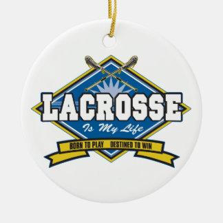 Lacrosse is My Life Ceramic Ornament