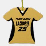 Lacrosse Jersey Gold Black Christmas Ornaments