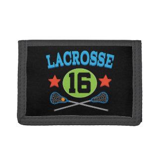 Lacrosse Jersey Number 16 Gift Idea Trifold Wallet