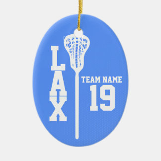 Lacrosse Jersey with Photo Blue Ceramic Ornament