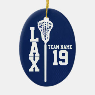 Lacrosse Jersey with Photo Dark Blue Ceramic Ornament
