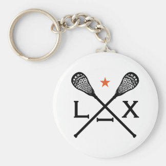 Lacrosse Lax Basic Round Button Keychain