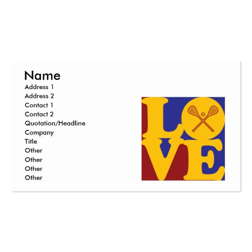 Lacrosse Love Double-Sided Standard Business Cards (Pack Of 100)