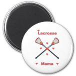 Lacrosse Mama Hearts 2 Inch Round Magnet