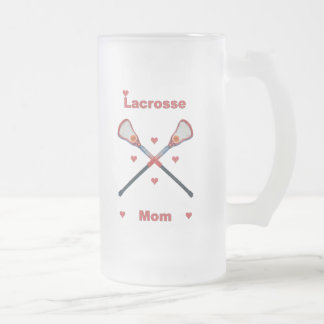 Lacrosse Mom Hearts Frosted Glass Beer Mug