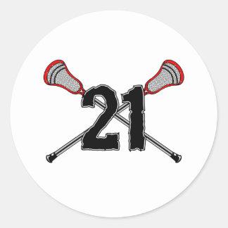 Lacrosse Number 21 2 Sticker