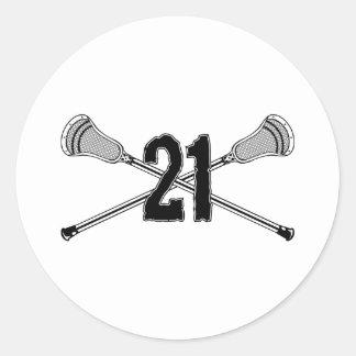 Lacrosse Number 21 Sticker