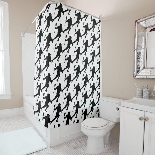 Lacrosse Pattern Sports Black White Shower Curtain