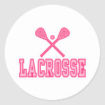 Lacrosse Pink Classic Round Sticker