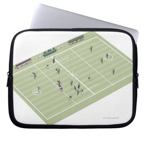 Lacrosse pitch and positions laptop computer sleeve