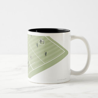 Lacrosse pitch and positions Two-Tone coffee mug