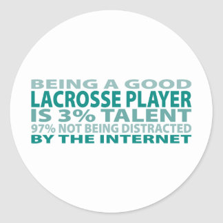 Lacrosse Player 3% Talent Round Sticker
