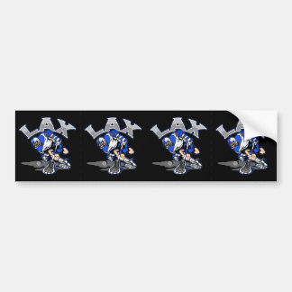 Lacrosse Player Blue Uniform Bumper Sticker