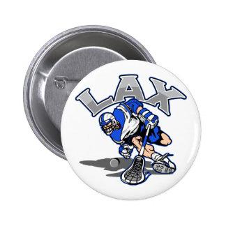 Lacrosse Player Blue Uniform Button