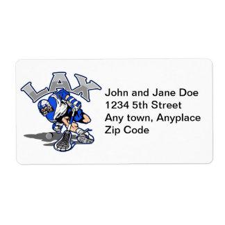 Lacrosse Player Blue Uniform Label