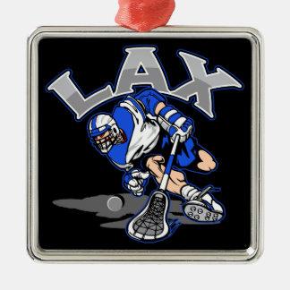 Lacrosse Player Blue Uniform Metal Ornament