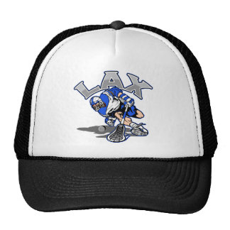 Lacrosse Player Blue Uniform Trucker Hat