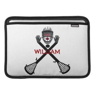 Lacrosse Player Cartoon MacBook Sleeve