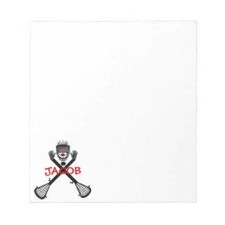 Lacrosse Player Cartoon Notepad