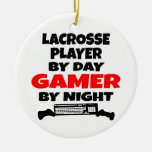 Lacrosse Player Gamer Double-Sided Ceramic Round Christmas Ornament