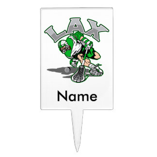 Lacrosse Player Green Uniform Rectangle Cake Pick