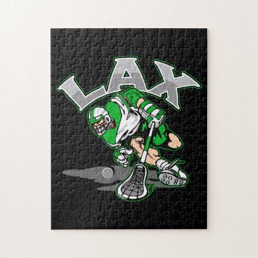 Lacrosse Player Green Uniform Jigsaw Puzzles