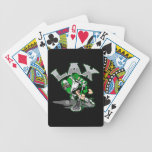 Lacrosse Player Green Uniform Poker Cards