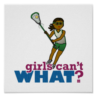 Lacrosse Player Green Uniform Posters