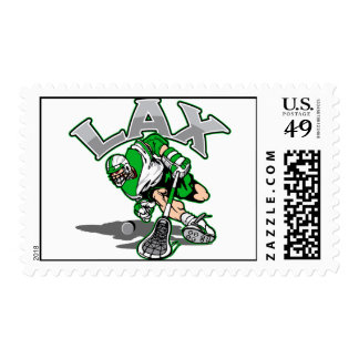 Lacrosse Player Green Uniform Stamp