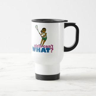 Lacrosse Player Green Uniform Travel Mug
