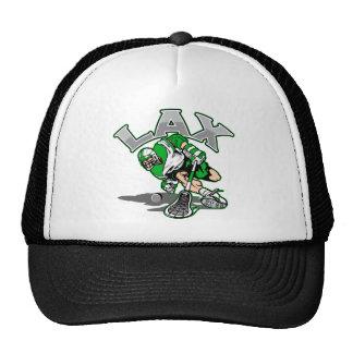 Lacrosse Player Green Uniform Trucker Hat