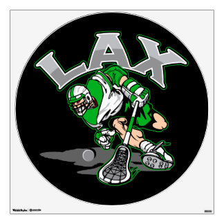 Lacrosse Player Green Uniform Wall Decal