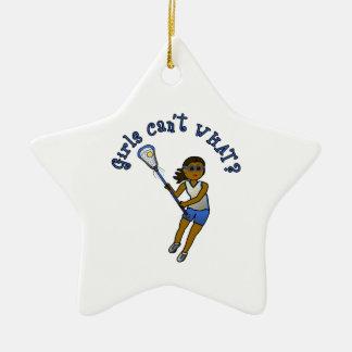 Lacrosse Player in Blue Ceramic Ornament
