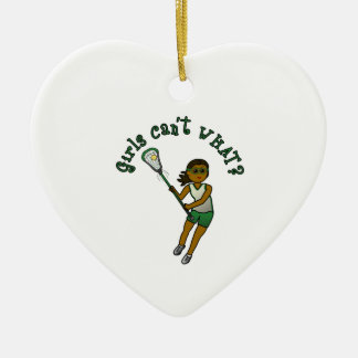 Lacrosse Player in Green Ceramic Ornament