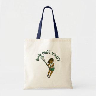 Lacrosse Player in Green Tote Bag