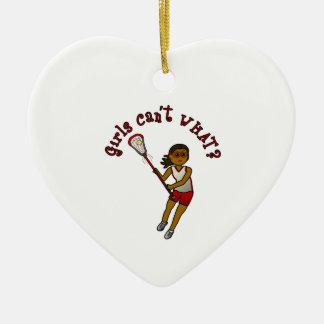 Lacrosse Player in Red Ceramic Ornament