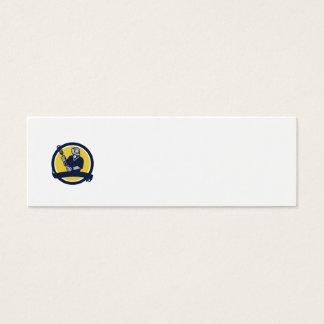 Lacrosse Player Ribbon Circle Retro Mini Business Card
