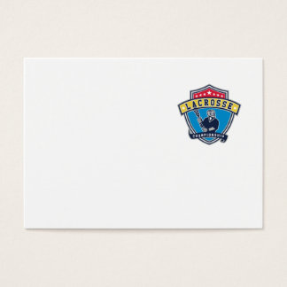 Lacrosse Player Ribbon Shield Retro Business Card