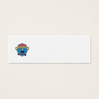 Lacrosse Player Ribbon Shield Retro Mini Business Card