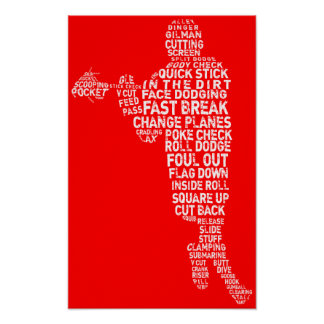 Lacrosse Player Typographic Poster