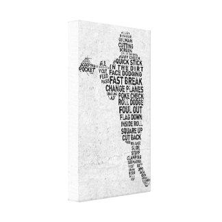 Lacrosse Player Typography Art Canvas Print
