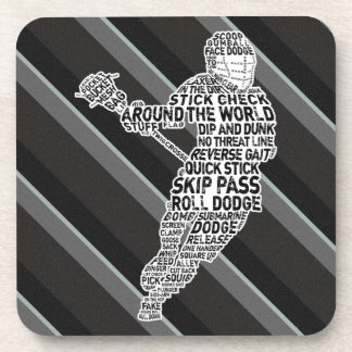 Lacrosse Player Typography Drinks Mat Drink Coaster