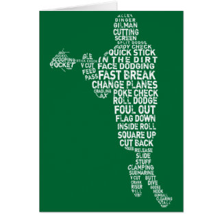 Lacrosse Player Typography Greeting Cards