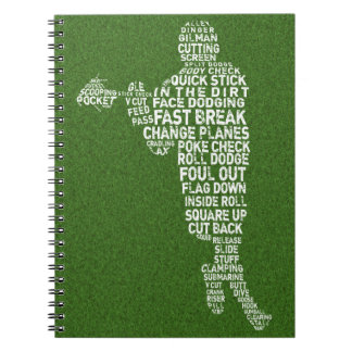 Lacrosse Player Typography Notebook