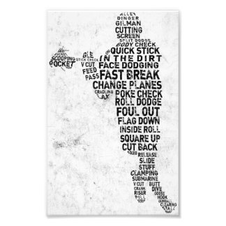 Lacrosse Player Typography Photo Print