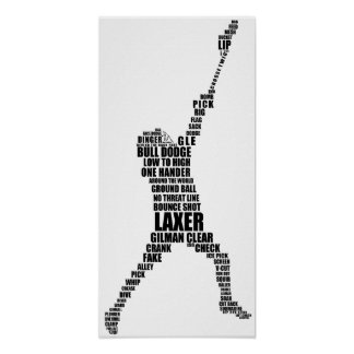 Lacrosse Player Typography Poster