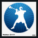 """Lacrosse Player Wall Sticker<br><div class=""""desc"""">Lacrosse Shooter. Cool lacrosse wall decoration. Locked,  cocked and ready to rock. Silhouette of lacrosse player holding stick,  in the midst of firing a shot on goal. Circular emblem design in blues with emanating rays. Lacrosse player wall decal.</div>"""