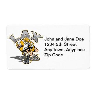 Lacrosse Player Yellow Uniform Label